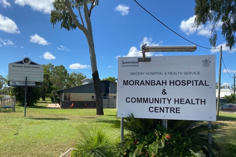 """A sign reads """"Moranbah hospital and community health centre"""""""