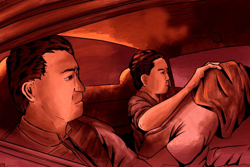 A drawing of a person with their head covered by a black hood in the back of a car with two men