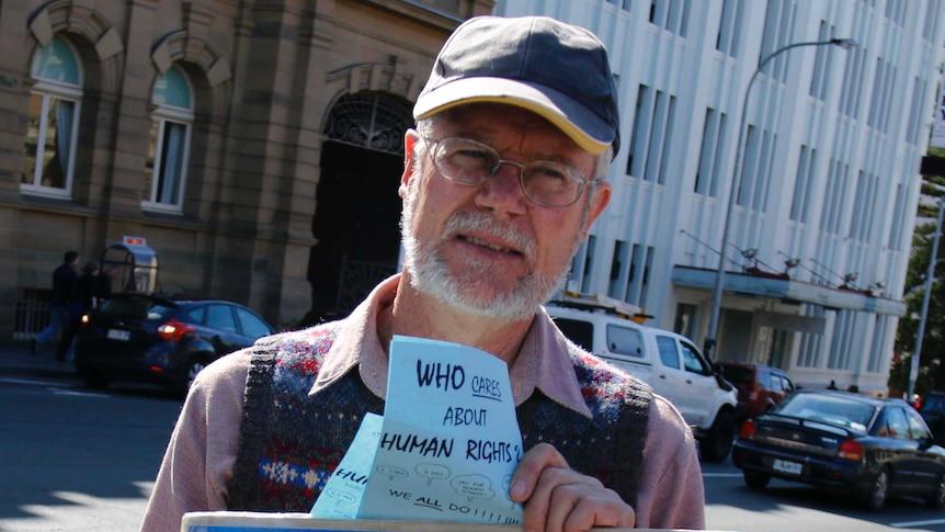 Anti-abortion campaigner John Graham Preston protests in Hobart.