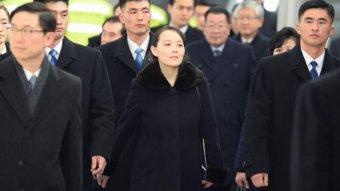Kim Jong-un's sister Kim Yo-jong flanked by bodyguards