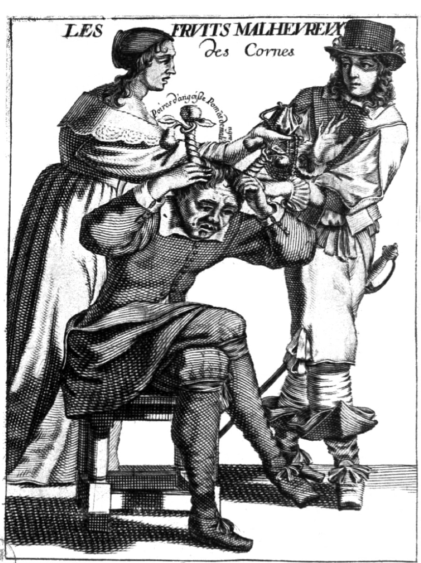 """French engraving of a cuckolded husband wearing horns entitled """"The Unhappy Fruits of the Horns""""."""