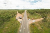 Drone photo of check point with along rural road.