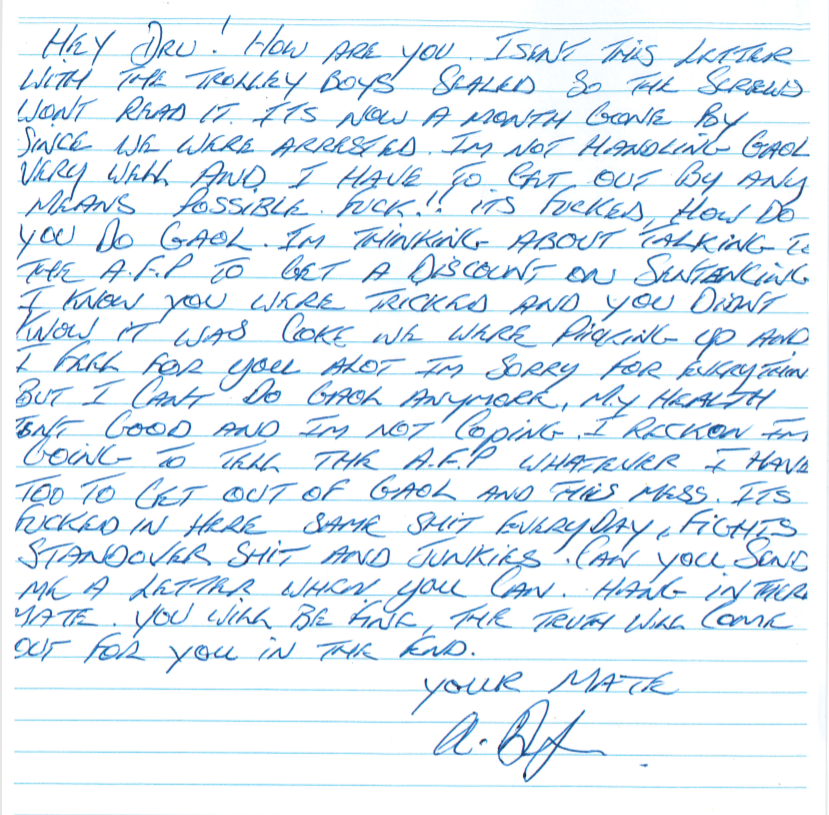 A letter written to Dru Baggaley.