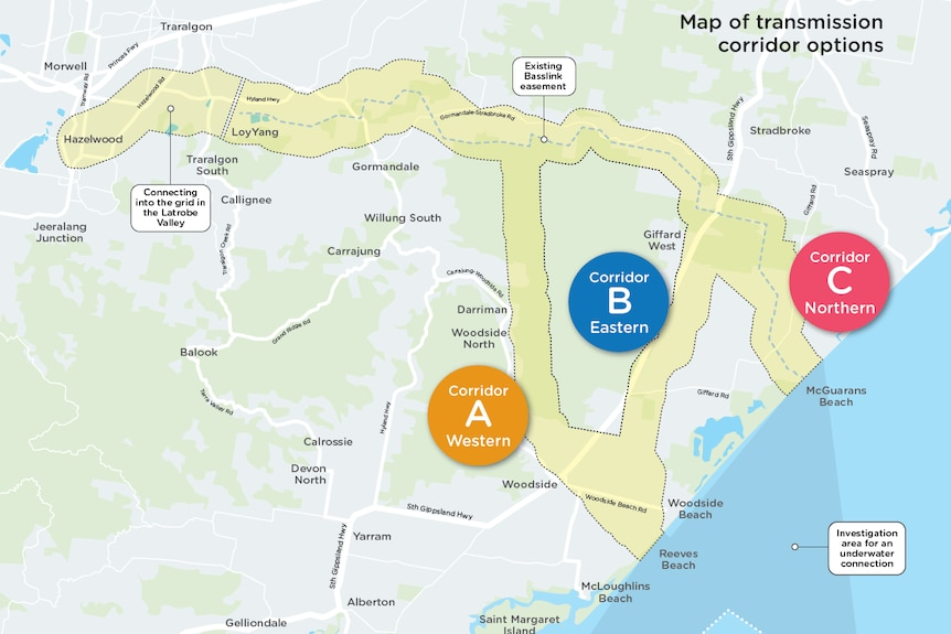 map of proposed windfarm cable route in South Gippsland.