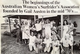Black and white photo of female surfers from a newspaper acknowledging start of the association