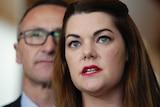 Greens Senator Sarah Hanson-Young talks to the media with leader Richard Di Natale