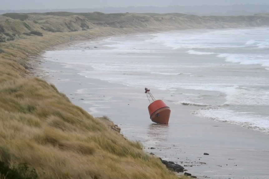 Red buoy washed ashore in heavy seas on Victoria's south-west coastline