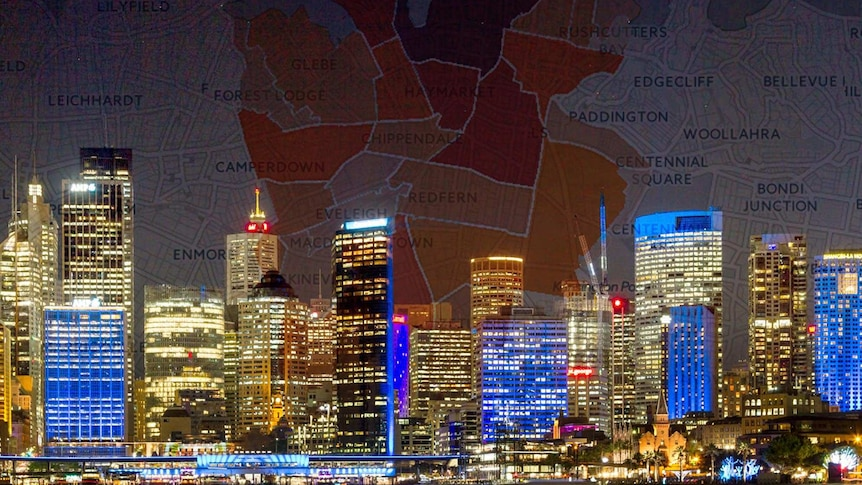 View of Sydney city buildings with superimposed map overlay