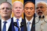 A composite image of Scott Morrison, Joe Biden, Yoshihide Suga, and Narendra Modi