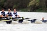 Swimmer interrupts boat race