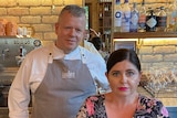 Shannon and Clare Kellam behind the bar at their restaurant Montrachet