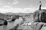 A camp by the Snowy River during the construction of the scheme in 1950.