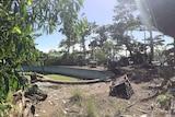 Run-down outside entertainment area of Hinchinbrook Island Wilderness Lodge