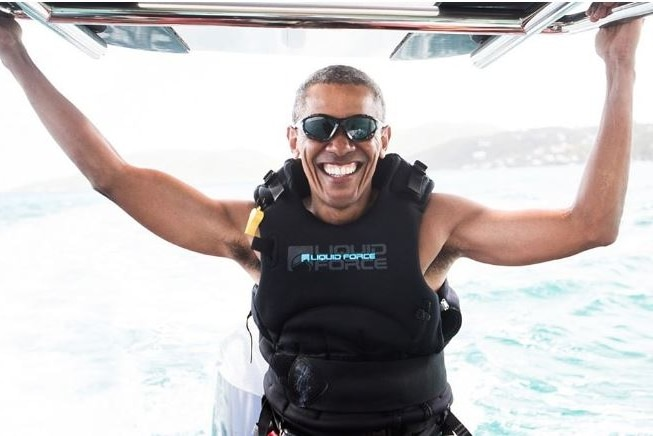 Barack Obama smiles while on holiday in the British Virgin Islands