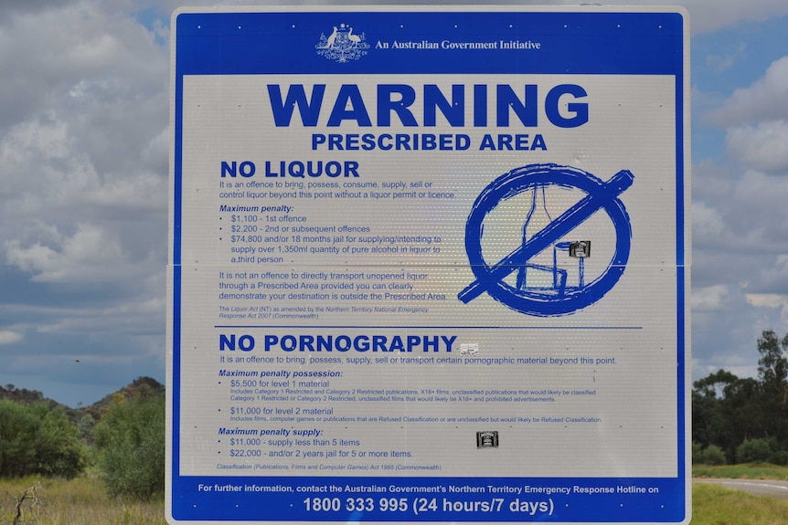 Prescribed area warning signs are still displayed in some NT Communities