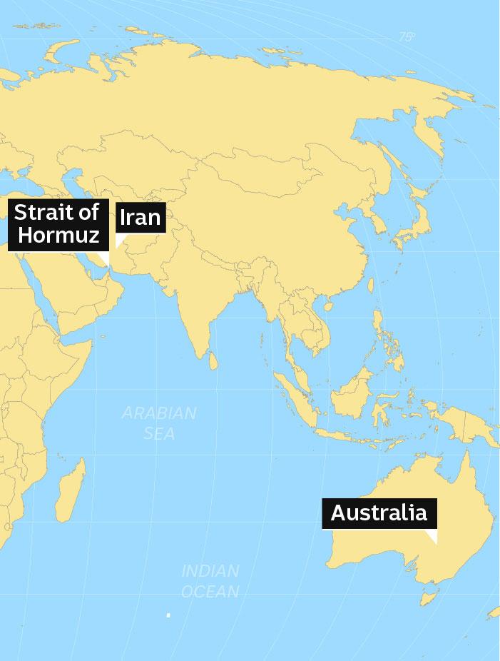 Map showing Strait of Hormuz, Iran and Australia.