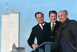President Ronald Reagan, Vice President George Bush and Soviet General Secretary Mikhail Gorbachev on a rooftop in 1988.