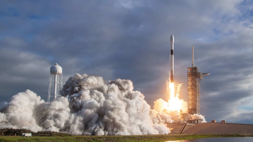 Elon Musk's company SpaceX launches a rocket.