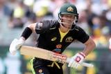 David Warner and Glenn Maxwell run between the wickets during a Twenty20 against Sri Lanka.