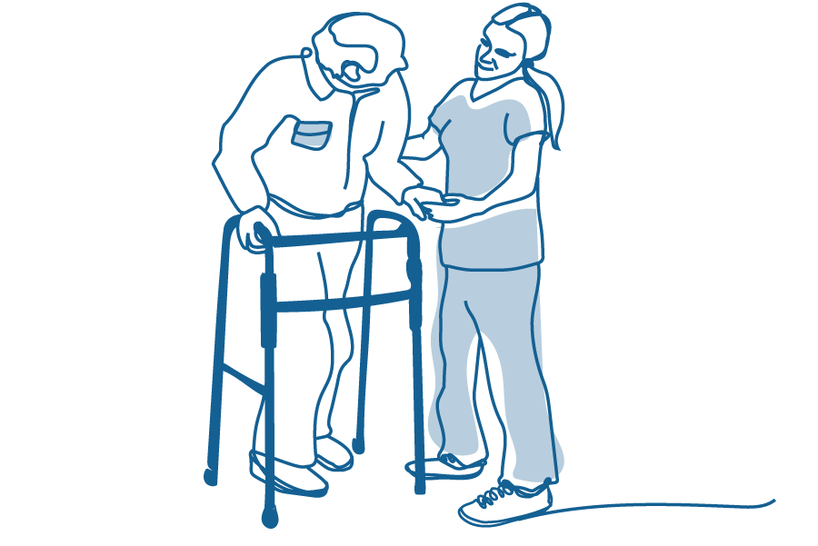An illustration of an older person using a walking frame and a young person helping them.