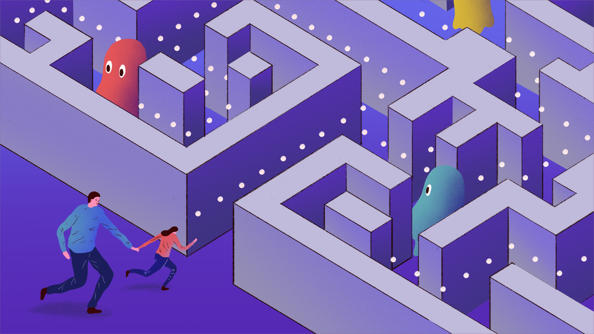 Illustration of father and daughter running to a maze