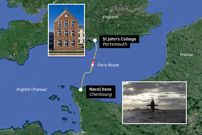 A map showing the ferry route from Cherbourg to Portsmouth
