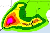 A coloured rainfall forecast of Tropical Storm Harvey over areas of Texas.