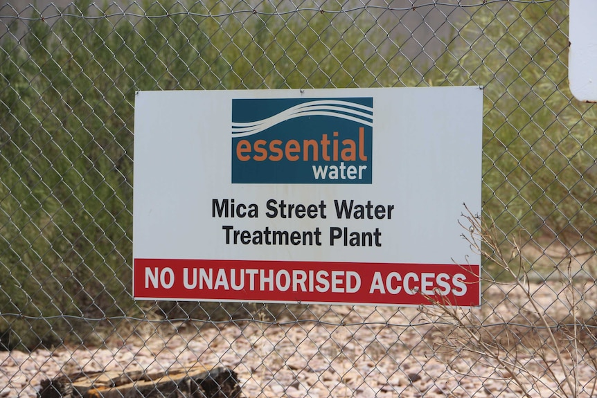 The sign outside Essential Water's treatment plant in Broken Hill.