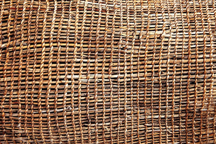 Detail of woven item on show at The First Tasmanians: Our Story exhibition, QVMAG.