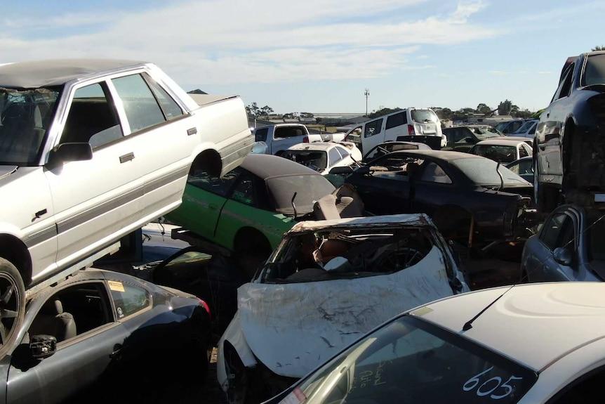 Car wrecks in a yard