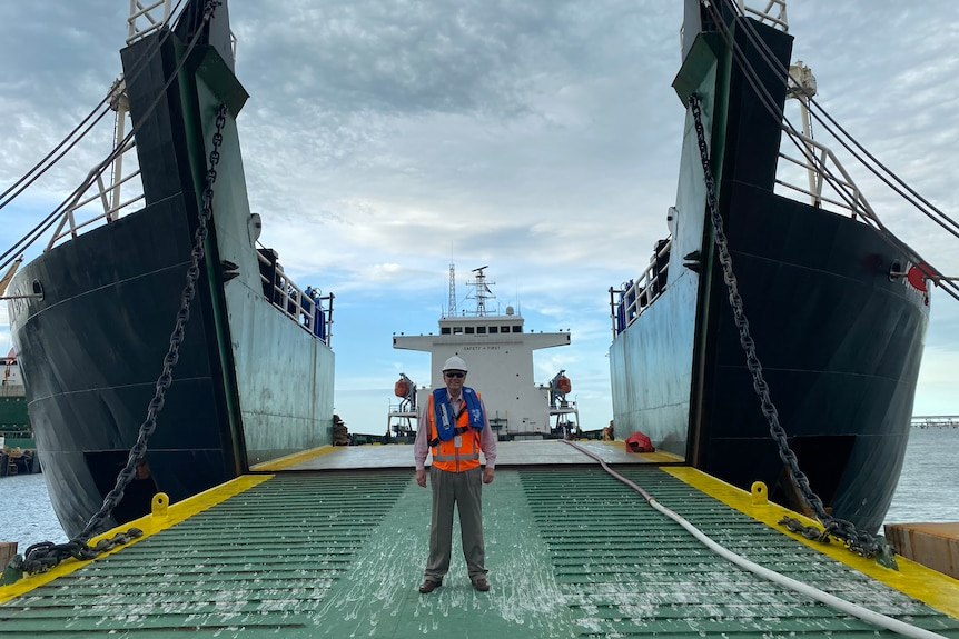 A man stands in front of a ship at a port