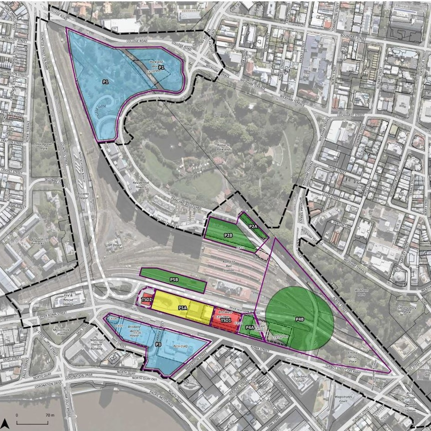 A colour-coded map of a proposed development timeline for the Roma Street Precinct