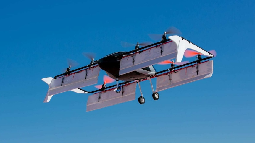 Flying passenger vehicle prototype in the air