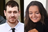 A composite image of a young man and a young woman, their faces close up side by side.
