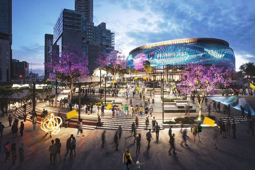 Artist's impression of the proposed Roma Street Olympic aquatic centre
