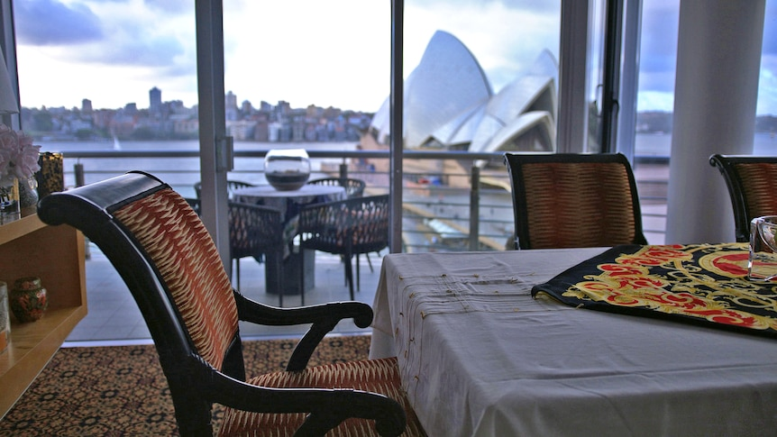 Alan Jones' dining table in his apartment.