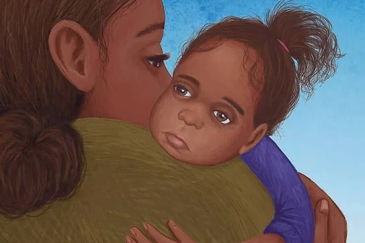 Illustration by artist Samantha Fry of the face of a tired, young Aboriginal girl over her shoulder of an older woman