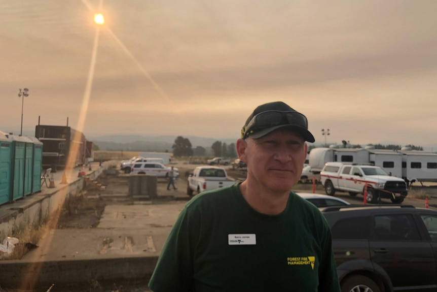 Barry James from Victoria stands in at a firefighting base in California where he's helping locals fight fires.