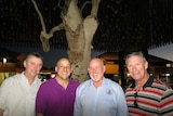 Sean McCarthy, Kevin Hines, John Brady and Kevin Briggs under the Tree of Knowledge in Barcaldine.