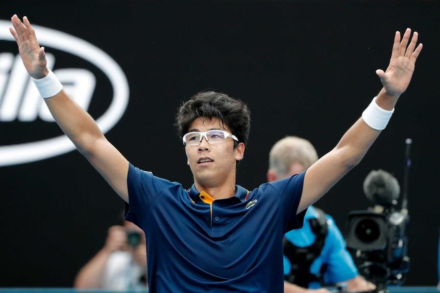 Hyeon Chung celebrates win over Alexander Zverev at the Australian Open