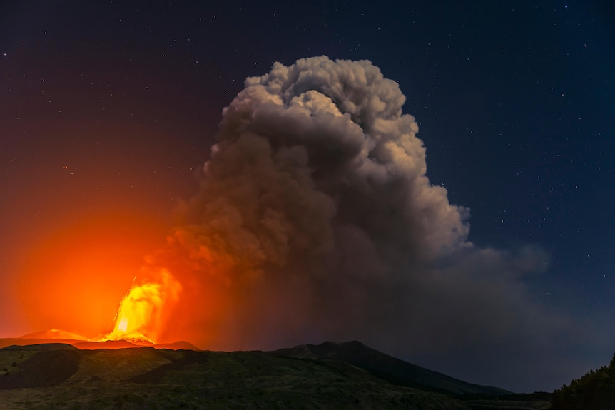 Mount Etna erupts on the east coast of Sicily