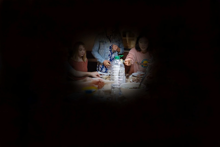 An example of tunnel vision. The image is mostly black with the centre showing parts of a family dinner at the table.