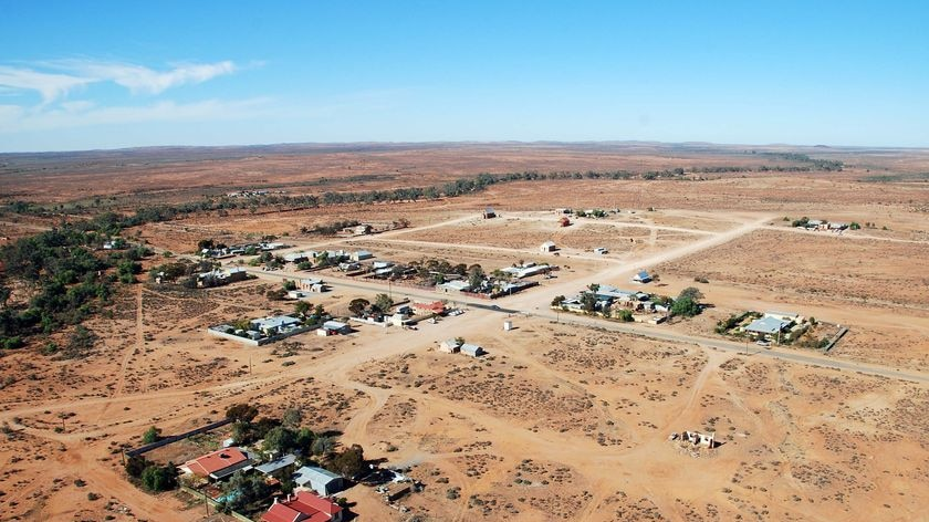 An aerial view of an outback town