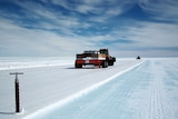 The Blue Ice runway as it is being proof rolled in near the Casey base in Antarctica.