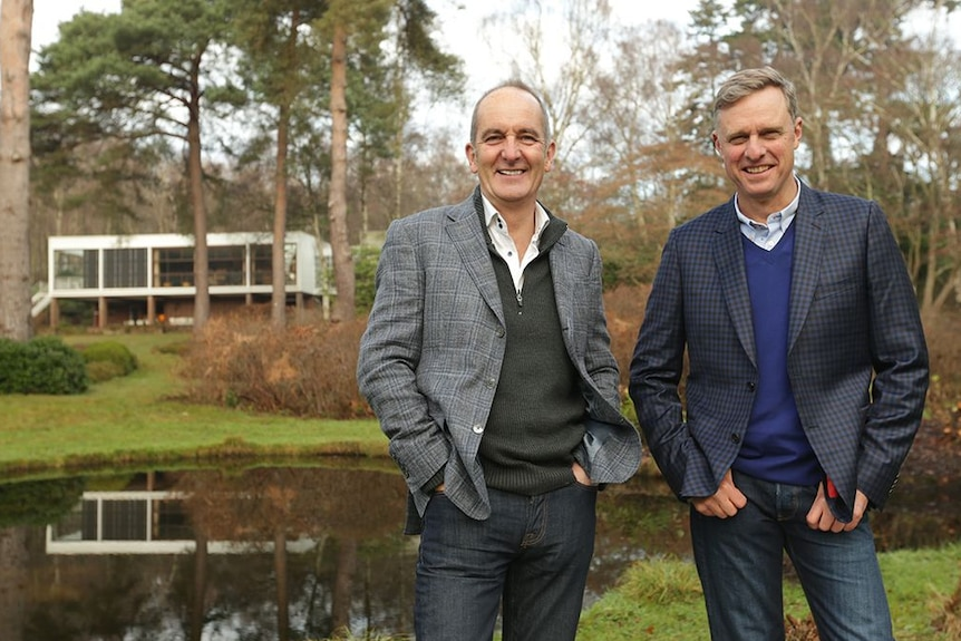 Grand Designs UK host Kevin McCloud with Grand Designs Australia host Peter Maddison.