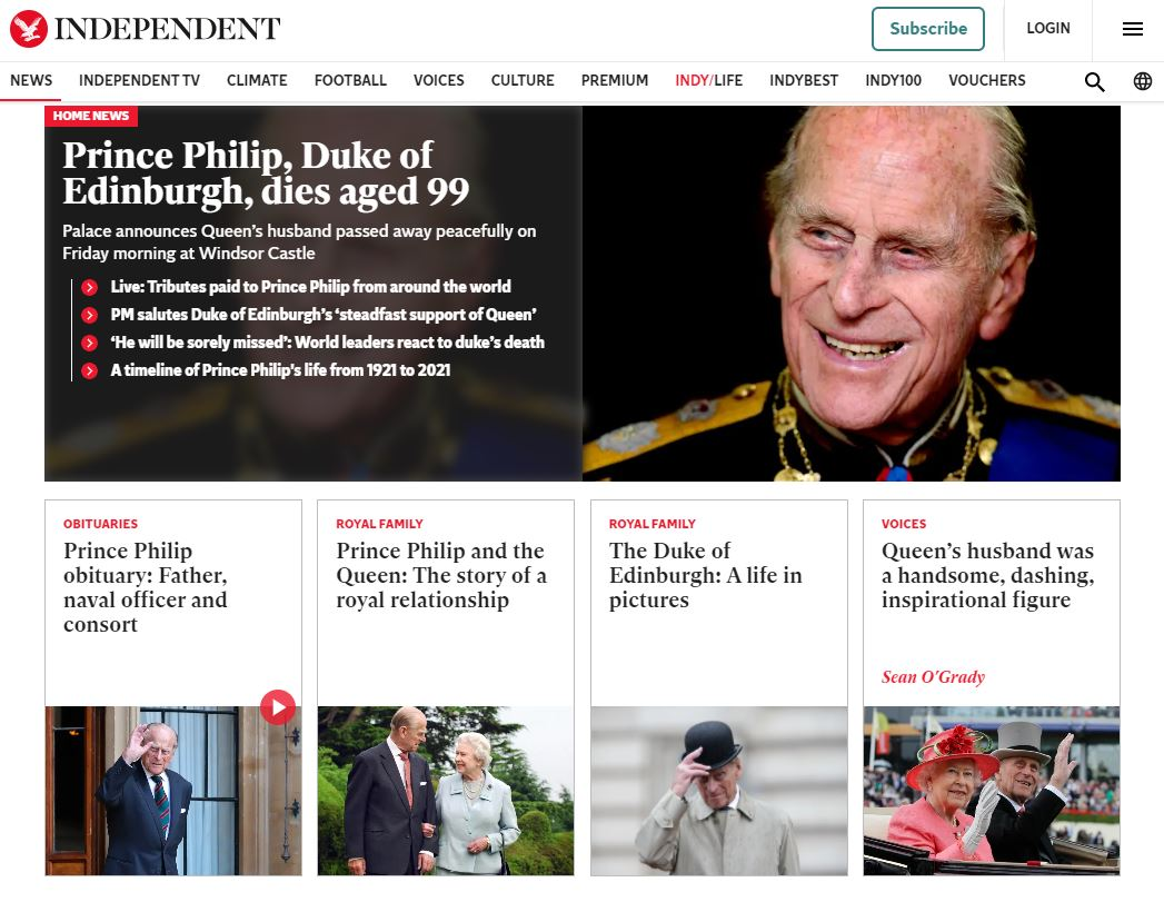 The Independent website after the death of Prince Philip.