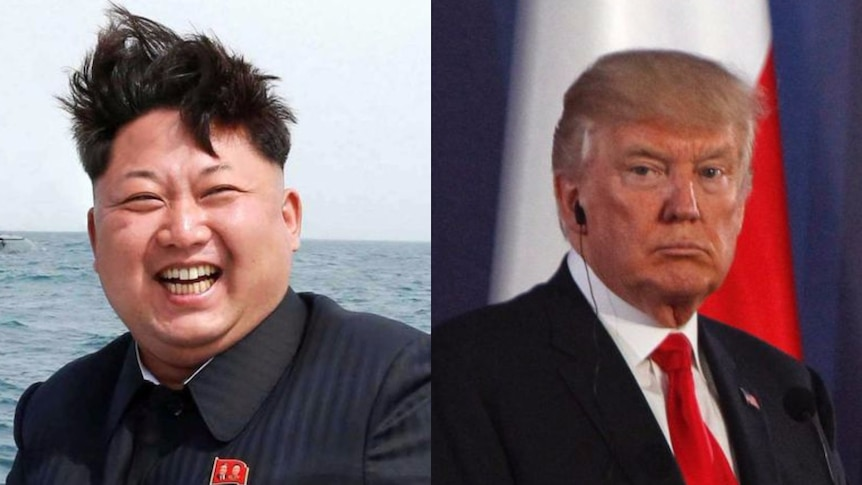 A composite photo of Kim Jong-un and Donald Trump.