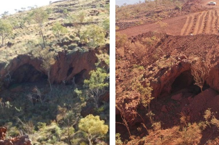 Two pictures of a cave. One with coverng of spinifex and sme trees, the other of the same cave but with no vegetation