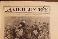 The cover of a discontinued newspaper, La Vie Illustre, with a drawing of a woman in court over defamation