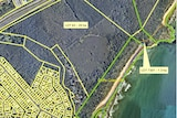 A map highlighting two properties that have been purchased for environmental reasons.